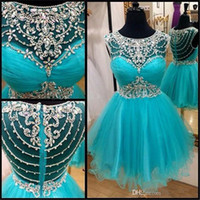 Wholesale Cute Red Prom Dresses - Cute Homecoming Dresses Cheap 2017 Vestido De Formatura Curto Jewel Beaded Rhinestones Blue Tulle Short Prom Party Dress