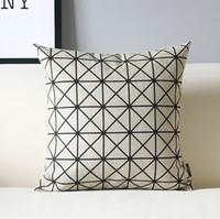 Wholesale Wholesale Car Headrest Covers - Cotton Linen Pillowcase No Core Black And White Geometry Lattice Simple Office Car Decor Headrest Cover 5 3ym F R