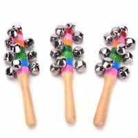 Wholesale Wooden Children Toys Bells - Wholesale- Baby Kids Children Educational Toy - Random Delivery Wooden Stick 10 Jingle Bells Rainbow Hand Shake Bell Rattles