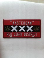 Wholesale Lighted Poster Sign - AMSTERDAM RED LIGHT DISTRICT Metal Plaque Car Number Retro Licence Plate Tin Sign Bar Pub Home Cafe Wall Decor Retro Metal Art Poster