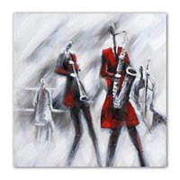 Wholesale Modern Music Oil Painting - The Music Festival 100% Hand Painted Musical Figures Oil Painting on Canvas Modern Abstract Painting Home Wall Art Decoration