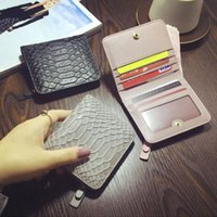 Wholesale Thin Ladies Purses - New Serpentine Genuine leather short wallet lady fashion super thin purse women mini zero wallet black pink purple grey blue color no224