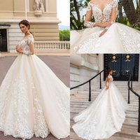 Wholesale lace wedding dress - Long Sleeves Elegant Luxury A line Wedding Dresses Lace Appliques Backless Modern Chapel Train Bridal Gowns
