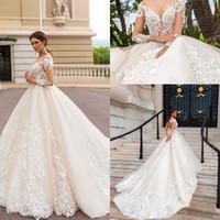 vestidos de casamento modernos venda por atacado-Mangas compridas de Luxo Elegante A Linha de Vestidos de Casamento Lace Apliques Sem Encosto Moderno Capela Trem Vestidos de Noiva
