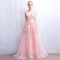 Wholesale 2017 Vestidos De Novia A Line Sexy Deep V Back Bead Lace Long Tulle Wedding Dresses Backless Ribbon Colorful Blush Pink Bridal Gowns CPS304