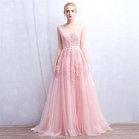 Wholesale Long Dress Sequin Bodice - 2017 Vestidos De Novia A Line Sexy Deep-V Back Bead Lace Long Tulle Wedding Dresses Backless Ribbon Colorful Blush Pink Bridal Gowns CPS304