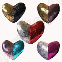 Wholesale Heart Shaped Decorations Home - Sequins Mermaid Pillow Case Heart-Shaped With Pillow Inner 35*40cm Bright Glitter Car Cushion Home Sofa Decoration 5 designs OOA1035