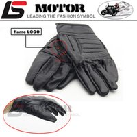 Wholesale Long Gloves For Men - Wholesale- NWE 2016 hot sale For Harley motorcyclists leather gloves long section of men's leather motorcycle gloves flame gloves