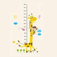 zürafa duvar etiketi yükseklik çizelgesi toptan satış-Çıkarılabilir PVC Çocuk Duvar Çıkartmaları Büyük Karikatür Zürafa Yükseklik Büyüme Grafik Çıkartması Çocuk Odası Dekorasyon Için
