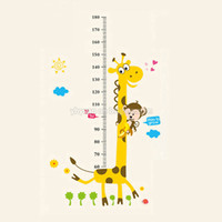 Wholesale Removable PVC Children Wall Stickers Large Cartoon Giraffe Height Growth Chart Decal For Kids Room Decoration