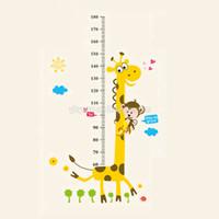 sticker mural de croissance en hauteur achat en gros de-Stickers muraux amovibles d'enfants de PVC grand décalque de diagramme de croissance de taille de girafe de dessin animé pour la décoration de chambre d'enfants