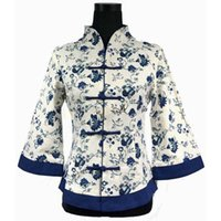 Wholesale Chinese Traditional Women Top - Wholesale- Chinese National Women Cotton Linen Shirt Traditional Handmade Blouse Flower Tops Plus Size S M L XL XXL XXXL 4XL 5XL WS061