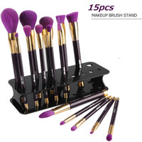 Wholesale Cosmetic Brush Display Stand - Acrylic Makeup Brush Holder Stand Cosmetic Organizer 5 Colors Fashion Dryer Rack Storage Box 15pcs Make up Brushes Display Stand