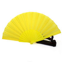 Wholesale Wholesale Plain Fans - Wholesale Free shipping,Hot selling 100 pcs lot Plain Dyed Blank Folding Hand Fan Fabric Plastic Spanish Hand Fan Dance Fan