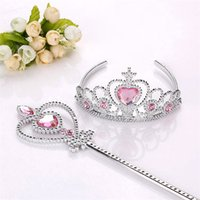 Wholesale F Accessories - Free shipping Girls Princess crown+Magic Wand 2 pcs suit F rozen Cinderella sets kids Party Accessories TA175