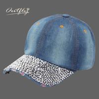 Wholesale Jean Hats Wholesale - Wholesale- jean Hat Lady Point drill pearl cowboy hat women Denim snapback baseball cap Outdoor Sport Rhinestone Female Casual Cap b163