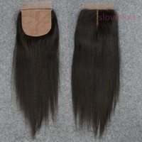 Wholesale Side Part Closures - Silk Base Closure Straight 7A Brazilian 100% Human Hair Free 2 3 Side Part Cheap Silk Top Closures Bleached Knots
