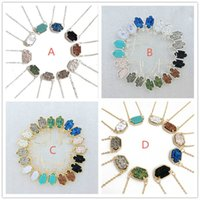 Wholesale White Gold Mix Necklace - Hot Popular Druzy Drusy Earrings Necklace Various 10 Colors Gold Plated Geometry Stone Necklaces Best for Lady Mix Colors