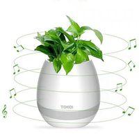 dokunmatik mini bluetooth hoparlörü toptan satış-TOKQI Bluetooth Akıllı Müzik Saksı MINI akıllı gerçek bitki dokunmatik oyun saksı uzun süre oyun bas hoparlör Gece lambası