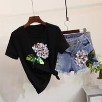 Wholesale Denim Rhinestone Shirt - 2017 vestidos Spring 2 pieces suits sequins floral t shirt cotton tops +denim shorts set Women 2 pieces set