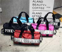 Wholesale Man Shoulder Bag Free Shipping - Hot Sale Women Handbags VS Pink Large Capacity Travel Duffle Striped Waterproof Beach Bag Shoulder Bag Free Shipping