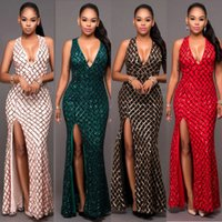 Wholesale Green Silk Womens Dresses - Sexy Women Sequined Dress 2017 New Elegant Deep V-Neck Womens High Split Party Gold Line plaid Sequins Bodycon club Luxury dresses
