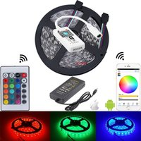 Wholesale Wholesale Phone Decoration Kit - full kit 5050 led strips rgb light + mini iOS Android Mobile phone wifi wireless intelligent controller + power supply
