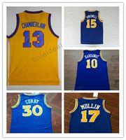 Wholesale Basketball Wilt Chamberlain - 15 Latrell Sprewell Jersey 17 Chris Mullin 10 Tim Hardaway Throwback Basketball Jerseys Curry Retro Yellow 13 Wilt Chamberlain 24 Rick Barry