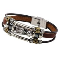 Wholesale Dragon Leather Bracelets - Wholesale-Cool Casual Vintage Dragon Charm Wristband Cuff Leather Bracelets Men Male Fashion Jewelry Accessories High Quality