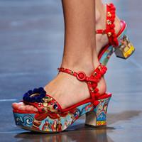 ingrosso fiore aperto di punta-Bohemia Rome Style Pom Pom Flower Women Gladiatore Sandali Platform Open Toe Sandali di alta qualità Scarpe design colorato