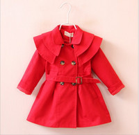 Wholesale 2017 New Autumn Winter Girls Tench Coats Fashion Baby Girl Double Breasted Coat Korean Style Cute Kids Long Tench Coat Outwear