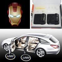 Wholesale S4 Iron Man - Wholesale- 2PCS Set Wireless Car Door Projector Lights Iron Man LED Lamp on Batteries laguna Cars Accesorios Auto Styling audi a6 s4