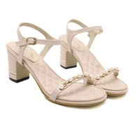 Wholesale Sandals 7cm Heel - 2017 New comfortable thick heel sandals with pearl beading black beige wedding shoes 7cm size 34 to 39