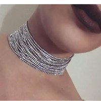 2017 Personnalité Multilayer Rhinestone Choker Collier Pour Femme Fashion Maxi Statement Collier Bijoux Crystal Chokers Collier