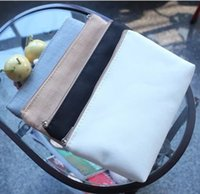 Wholesale Clutch Bag Blank - Fashion blank clutch canvas DIY cosmetic makeup bag canvas makeup bag plain canvas cosmetic bag clutch bag