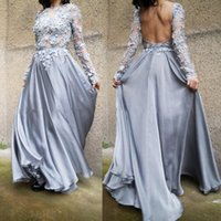 Wholesale Transparent Dressed Womens - Sexy Transparent Evening Dresses Backless Cocktail Gown Long Sleeves With Appliques Chiffon Elegant Dress For Womens Custom Made