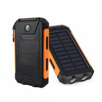 Wholesale solar power bank for sale - Waterproof Solar Power Bank mah Solar Battery Charger Bateria Externa Portable Charger Powerbank With LED Light Compass For iPhone mi