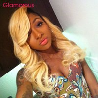 Wholesale Two Toned Human Braiding Hair - Glamorous Blonde Brazilian Ombre Hair Weave 2 Bundles Body Wave Straight Two Tone Ombre Braiding Malaysian Peruvian Indian Human Hair Weaves