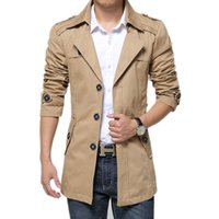 Atacado - Trench Coat Men Classic Men's Double Breasted Trench Coat Casaco macho Long Jackets Casacos homem Overcoat Plus Size 4XL
