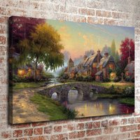 Wholesale Thomas Kinkade Oil Painting Landscape Rural cottage series HD Canvas print Wall Art Pictures Home Decor Living Room Decoration