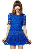 Wholesale Ladies Dress Embroidery - 2017 Blue openwork embroidery lace Dress Free Shipping lady dress