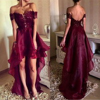 Wholesale Cheap Women Winter Wear - Cheap Sexy Short Cocktail Party Dresses 2017 Off The Shoulder Backless Burgundy Hi Lo Prom Homecoming Gowns Custom Made Women Wear BA4794
