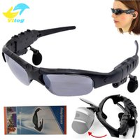 Wholesale Mp3 Retail Packaging - Sunglasses Bluetooth Headset Wireless Sports Headphone Sunglass Stereo Handsfree Earphones mp3 Music Player With Retail Package DHL FREE