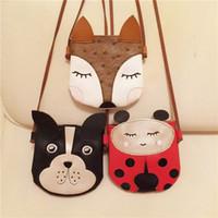 Wholesale Handmade Kids Bags - 2017 Girls cute Animal Bag Ladybug dog fox New Korean Cute One-Shoulder Bag Fashion PU Handmade Kids Purses toy 3colors bc17010