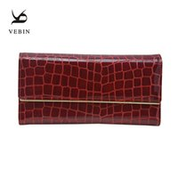 Wholesale Yellow Womens Clutch Wallet - Vebin Genuine Leather Womens Wallets Stone Pattern Leather Luxury Oil Wax Surface Purse Designed For Fashion Female Clutch