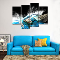 Wholesale Guitar Modern Art Painting - 4 Panles Canvas Wall Art Musical Instruments Picture Prints Guitar Painting Modern Giclee Artworks For Home Decoration with Wooden Framed
