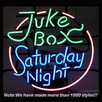 Wholesale Commercial Gift Boxes - Wholesale- New Juke Box Saturday Night Neon Sign Neon Bulbs Store Display Real Glass Tube Quality Handcraft Commercial Fashion Gifts 17x14