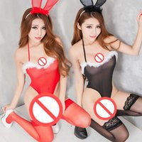 Wholesale Lingerie Sexy Bunny Girls - Free shipping new sexy lingerie maid fitted female Rabbit girl bunny uniforms temptation sm female show small chest milk passion package