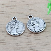 Wholesale diy jewelry coin charms online - MIC Antique silver Alloy Australian Elizabeth Coin Charms Pendant DIY Jewelry x19 mm Antique silver