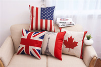 Venda Por Atacado National Flags Pillow Case Pattern Cushions American British Flags Eiffel Maple Leaf Travesseiro Home Office Square Decors Covers